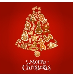 Christmas bell greeting card with ginger cookie vector image