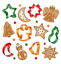 christmas cookies and cookie cutters vector image