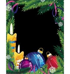 Christmas frame with colorful decorations vector