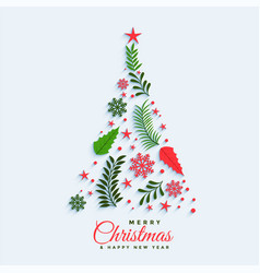 christmas tree made with decorative elements vector image