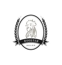 circle retro vintage hand drawn sketch rooster far vector image