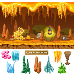 colorful isometric game treasure cave concept vector image