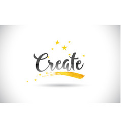 Create word text with golden stars trail and vector