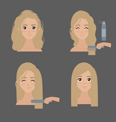 Curly to straight hair steps vector
