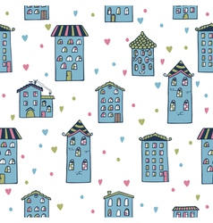 Cute seamless background with houses Home sweet vector