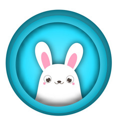 Easter bunny looking out easter banner with cute vector