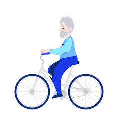 elderly man riding bike in vector image