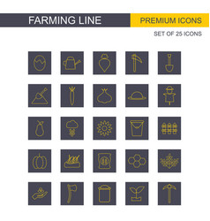 Farming line icons set yelllow and grey vector