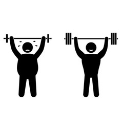 Fat man and strong sportsman fitness training vector