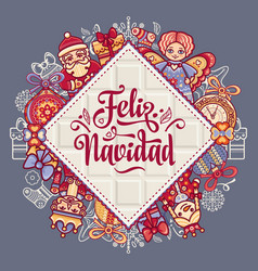 feliz navidad xmas card on spanish language vector image