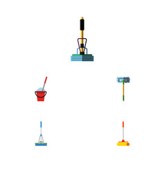 flat icon cleaner set of bucket cleaner besom vector image