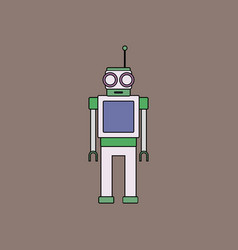 flat icon design collection robot toy with antenna vector image