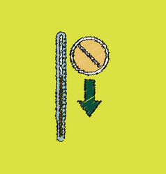 Flat shading style icon medical thermometer vector