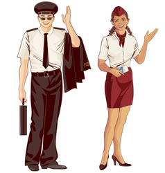 flight attendant and pilot vector image