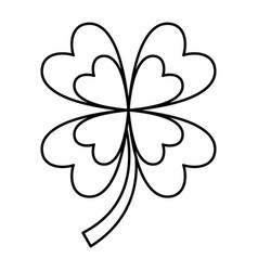 four leaves clover good fortune outline vector image