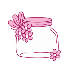 Full color small mason glass with flowers and vector