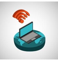Global connection wifi digital laptop vector