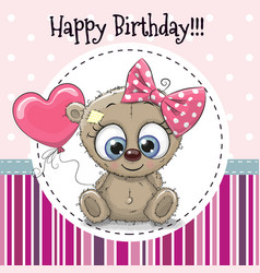 Greeting card cute cartoon bear girl vector