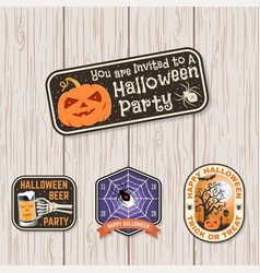 halloween beer party patch halloween retro badge vector image