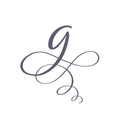 hand drawn calligraphic floral g monogram vector image