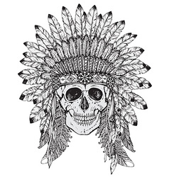 hand drawn indian headdress with human sk vector image