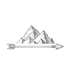 hand drawn ink sketch mountain minimalist dots vector image