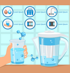 Hand holding glass purified water vector