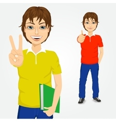 handsome student guy making victory sign vector image