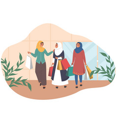 happy arab women walking with shopping bags vector image