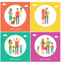 happy family posters text set vector image