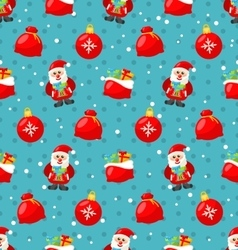 Happy New Year seamless pattern with Santa and vector image