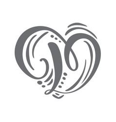 Heart hand drawn calligraphic scandinavian vector