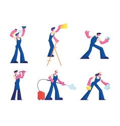home repair and professional cleaning service set vector image