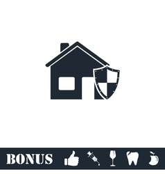 House insurance icon flat vector