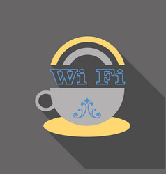 Icon of a cup of coffee with wifi symbol vector
