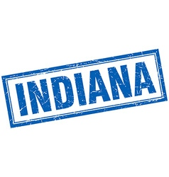 Indiana blue square grunge stamp on white vector