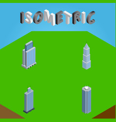 Isometric skyscraper set of exterior urban vector