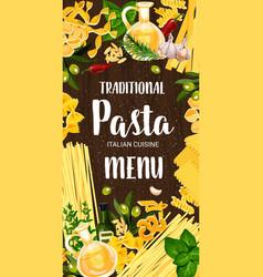 Italian pasta and green seasonings menu vector