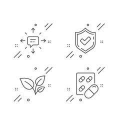 Leaves confirmed and sms icons set capsule pill vector