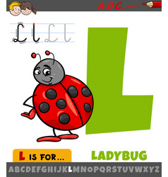 Letter l from alphabet with cartoon ladybug vector