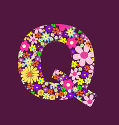letter of beautiful flowers q vector image