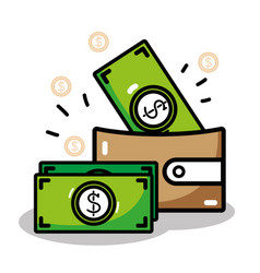 Linear wallet with flat bills money icons vector