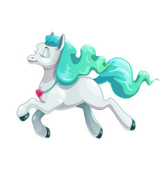 Little cute cartoon flying white horse icon vector