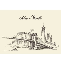 Manhattan bridge New York US drawn vector