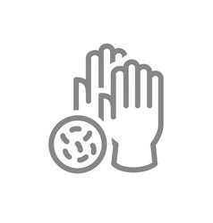 medical gloves with bacteria line icon hand vector image