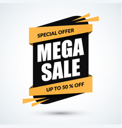 mega sale banner special offer template discount vector image