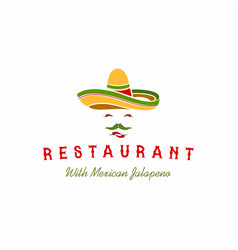 mexican sombrero with chilli for taco restaurant vector image