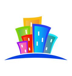 modern buildings logo colorful design vector image