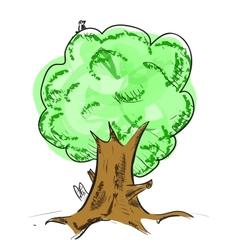 Old tree with hiding animals cartoon icon vector image