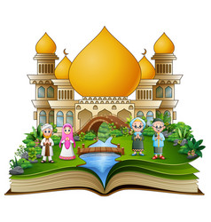 Open book with happy muslim family greeting in fro vector